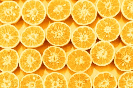 Orange slice pattern colorized pop art background.