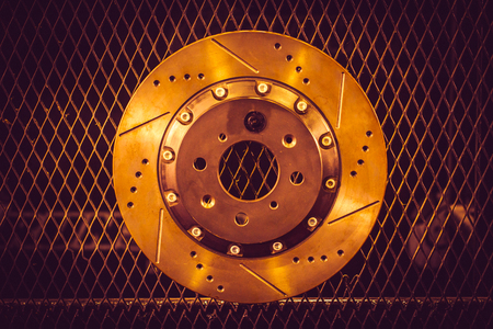 car disc brake part with hot heat color effect Stock Photo