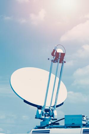 Satellite dish mounted mobile vehicle.