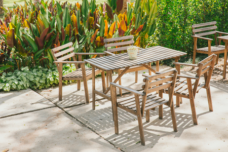 furniture store: out door wood table of cafe and restaurant.