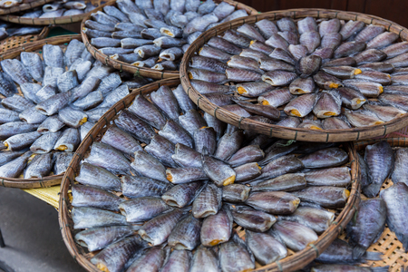 fish tail: fish preservation , Thai food dried Nile tilapia fish.