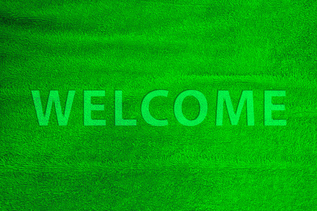 Welcome word cotton carpet colorful in green. Reklamní fotografie