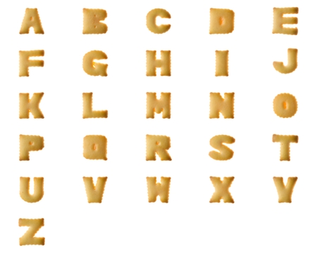 Set collention of Cookie Letter Biscuit english capital font isolated on white.