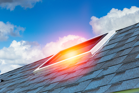 House sun roof to save energy design architecture. Stock Photo