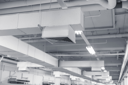 Building interior Air Duct, Air Condition pipe line system Air flow industrial design.