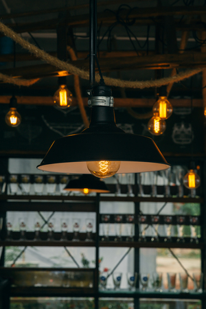 edison: industrial light cafe decoration. interior lighting vintage retro style with space for text.