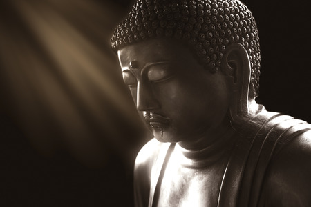 calm buddha with light of wisdom, peacful asian buddha zen tao religion art style statue.