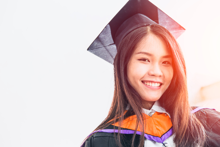 Asian cute women portrait graduation, Thailand university. Stock Photo