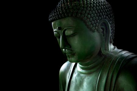 zen style buddha with light of wisdom black and white, peaceful asian buddha tao religion art style statue. Imagens