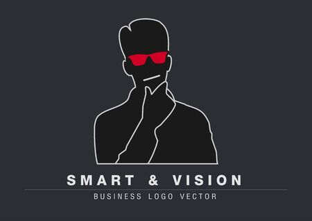 black man thinking: Smart and vision concept thinking or detective agency branding logo vector Illustration