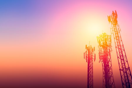 communication tower or 3G network telephone cellsite with dusk sky with space for text Stock Photo