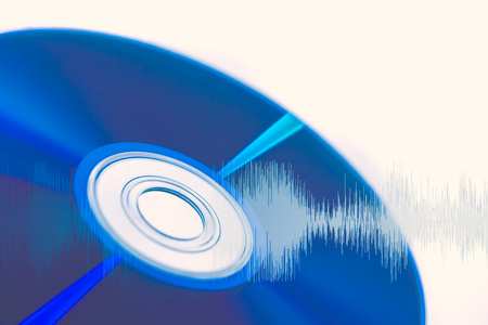 CD compact disc with audio wave for Digital sound  optical storage concept. Stock Photo