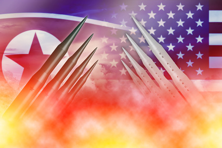 Noord-Koreaanse lunch ICBM raket testaanval met Amerika Amerika voor nucleaire bom nieuwsillustratie concept. Stockfoto