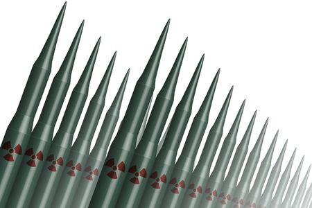 大陸間弾道ミサイル (ICBM) 軍事武器、白い背景で隔離の 3 D 図です。 写真素材
