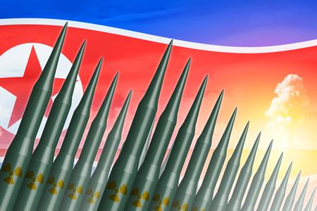 北朝鮮ランチ ICBM ミサイル核爆弾テストの図の概念のため。