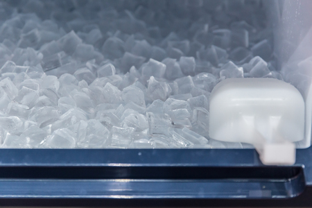 clean cool ice block from ice making machine for cooling fresh drinking in hot summer season.