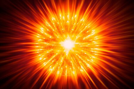 nuclear bomb: Nucleus of Atom Nuclear explode atomic bomb red hot ray radiation light science illustration concept.