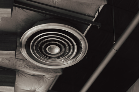 Dirty dusty factory interior air duct - Danger of lung healthy the cause of pneumonia in office man.