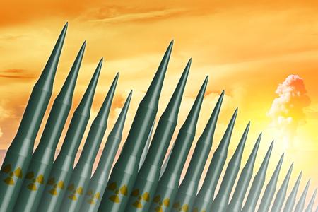 大陸間弾道ミサイル (ICBM) ロケットは、冷戦核爆弾力図の概念のために収集します。
