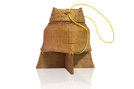 sticky rice box Thai style on white