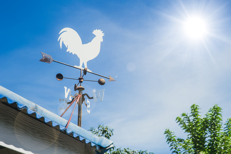Wind Vane or weather vane chicken style rotate by wind blow to indicator wind direction on roof Фото со стока