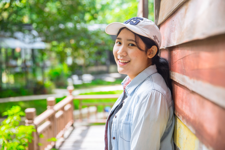 hapy: portrait cute young innocent asian teen smile hapy expression with good healthy dental Stock Photo