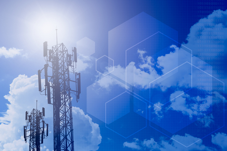 communication tower and information technology concept design for stage background 版權商用圖片