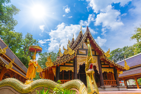 windows: Beautiful Thai Temple with wooden handcraft art decoration in Chiangmai at Wat Lamperng Temple Stock Photo