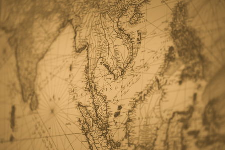 old map Siam or Thailand vintage color tone for background 版權商用圖片