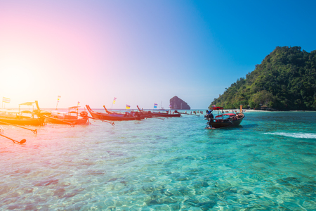 aonang: Seascape of Krabi Thailand travel in summer season with emerald clear sea water