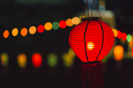 northern light: Chinese Paper Lamp Red color hanging at Night