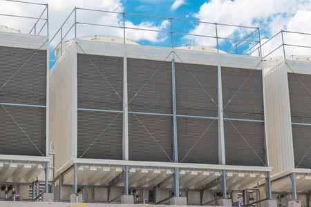 Larger Water Chillers Rooftop Units of Air Conditioner for Large Industry Air Cooling system Stock Photo