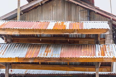 old vintage rust roof wood building rusty metal zinc sheet texture