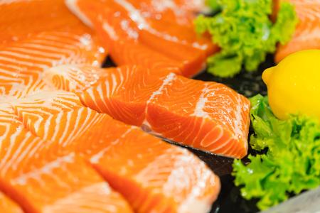 salmon fish raw closeup studio set