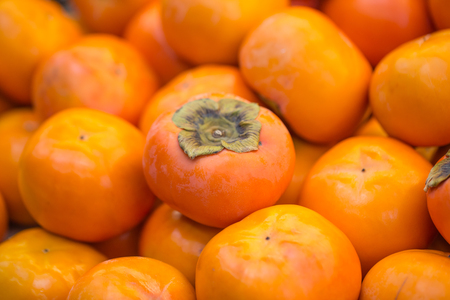Japan Persimmon orange fruit sale in the market