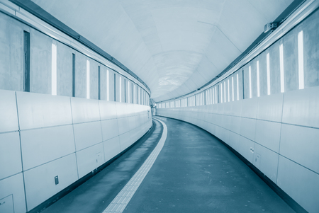 long walkway underground futuristic modern way to future business concept background