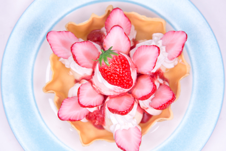 Fake Strawberry Ice cream top view fruit tasty dessert recipes