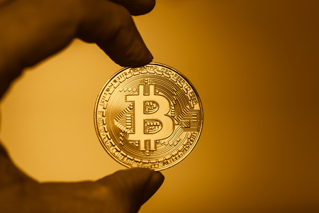 gold bitcoin cryptocurrency era of digital currency concept.