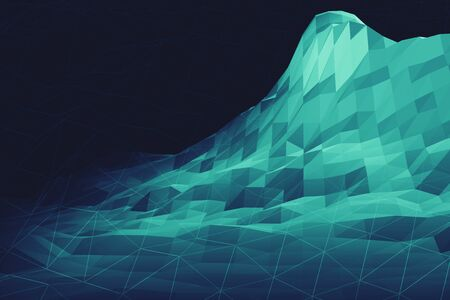 Digital big data information mountain futuristic low poly geometry landscape 3d illustration