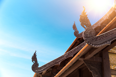 Ancient Thai Temple Arts Architecture Naga wood carved at Chapel Roof Stock fotó