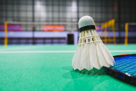 badminton shuttlecock in competing badminton  courts blur background