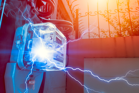 Watt Hour Meter with Electricity Short circuit Danger of overuse power in household Stock Photo