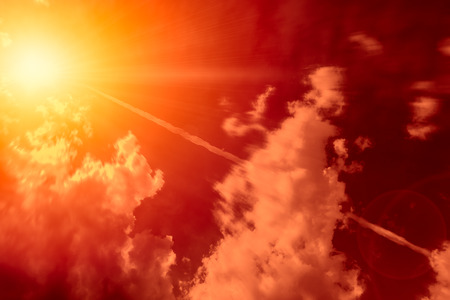 High-altitude nuclear explosion of Missile explosive over the sky release heat and air radiation concept. Фото со стока