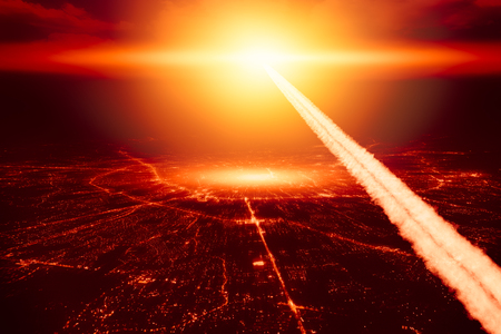City destroyed by nuke nuclear bomb. High altitude nuclear explosion missile explosive over the sky world war illustration concept. Фото со стока