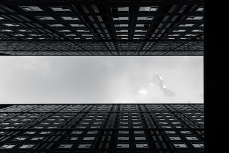 High rises accommodation building of modern metro cityscape arts photography in black and white monotone.