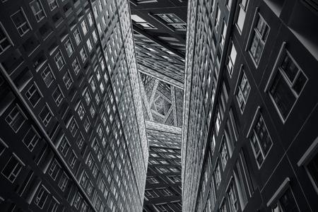 High building complex city urban art concept