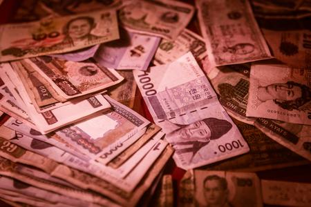 mix banknote red color tone money crisis financial bankruptcy concept Stock fotó