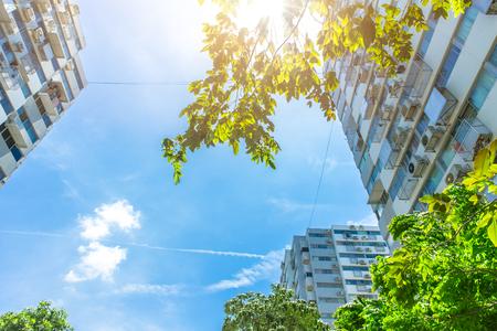 eco groene gemeenschap goed milieu en levenskwaliteit van leven stadsconcept. Stockfoto