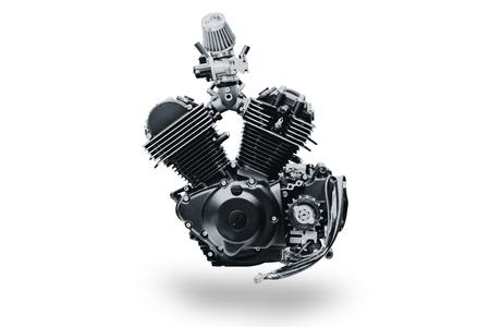 black V shape vintage motorcycle engine isolated on white background Banco de Imagens