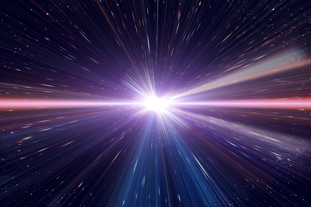 Light speed travel time warp traveling in outer space galaxy. Stock Photo